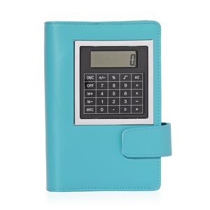 Turquoise Soft Cover Business Planner with Built-in Calculator, Transparent Card Holder and Tuquoise Resin Blue Ink Pen