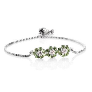 Sterling Silver Bolo Floral Bracelet (Adjustable) Made with SWAROVSKI Peridot and Zircon Crystal