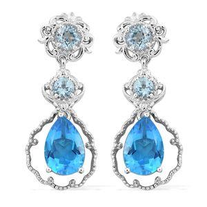 Caribbean Quartz, Sky Blue Topaz Platinum Over Sterling Silver Earrings TGW 8.50 cts.