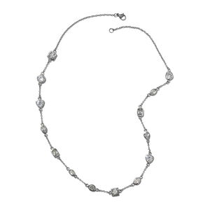 Simulated Diamond Stainless Steel Station Necklace (18 in) TGW 12.59 cts.
