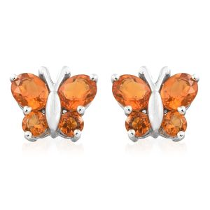 Salamanca Fire Opal Platinum Over Sterling Silver Butterfly Earrings TGW 1.26 cts.