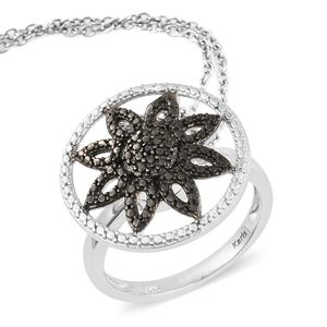 KARIS Collection - Black Diamond Accent (IR) Platinum Bond Brass Convertible Ring (Size 8) and Pendant on Stainless Steel Chain (20 in)