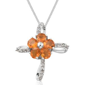 Salamanca Fire Opal, Cambodian Zircon Platinum Over Sterling Silver Cross Pendant With Chain (20 in) TGW 1.30 cts.