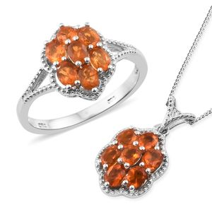 Salamanca Fire Opal Platinum Over Sterling Silver Ring (Size 7) and Pendant With Chain (20 in) TGW 1.67 cts.