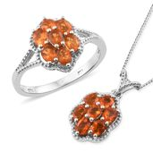 Salamanca Fire Opal Platinum Over Sterling Silver Ring (Size 9) and Pendant With Chain (20 in) TGW 1.67 cts.