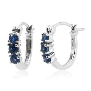 Ceylon Blue Sapphire Platinum Over Sterling Silver Hoop Earrings TGW 0.92 cts.