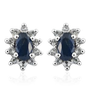 Ceylon Blue Sapphire, White Topaz Platinum Over Sterling Silver Floral Halo Earrings TGW 0.80 cts.