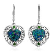 Australian Mosaic Opal, Russian Diopside Platinum Over Sterling Silver Lever Back Earrings TGW 3.98 cts.