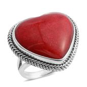 Bali Legacy Collection Sponge Coral Sterling Silver Heart Ring (Size 10.0) TGW 9.33 cts.