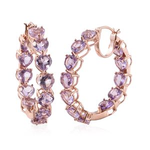 Rose De France Amethyst Vermeil RG Over Sterling Silver Inside Out Heart Hoop Earrings TGW 17.28 cts.