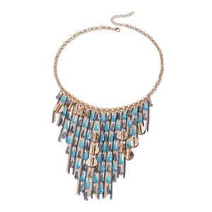 Blue Simulated Crystal Dualtone & Iron Fringe Necklace (22 in)