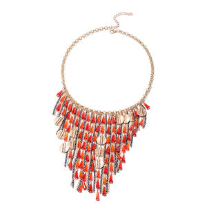 Red and Orange Glass Dualtone & Iron Necklace (22 in) TGW 500.00 cts.