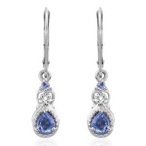 Ceylon Blue Sapphire Platinum Over Sterling Silver Lever Back Earrings TGW 1.20 cts.