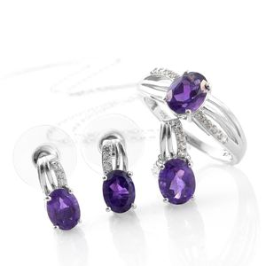 Lusaka Amethyst, Cambodian Zircon Platinum Over Sterling Silver Earrings, Ring (Size 10) and Pendant With Chain (20 in) TGW 5.63 cts.