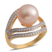 South Sea Golden Pearl (11-12 mm), White Zircon 14K YG and Platinum Over Sterling Silver Ring (Size 8.0) TGW 1.26 cts.