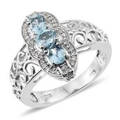 Premium AAA Espirito Santo Aquamarine, Cambodian Zircon Platinum Over Sterling Silver Openwork Ring (Size 5.0) TGW 1.26 cts.