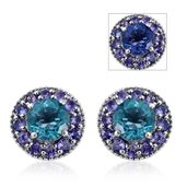 Color Change Fluorite, Tanzanite Platinum Over Sterling Silver Earrings TGW 4.52 cts.