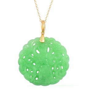 Burmese Green Jade 14K YG Over Sterling Silver Pendant With Chain (18 in) TGW 19.50 cts.