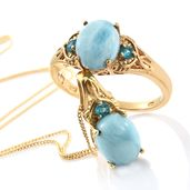 Larimar, Malgache Neon Apatite Vermeil YG Over Sterling Silver Ring (Size 7) and Pendant With Chain (20 in) TGW 6.36 cts.