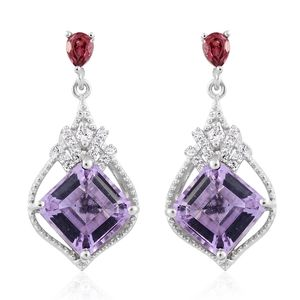 Asscher Cut Rose De France Amethyst, Orissa Rhodolite Garnet, Cambodian Zircon Platinum Over Sterling Silver Earrings TGW 5.55 cts.