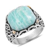 Russian Amazonite Black Oxidized, ION Plated YG and Stainless Steel Men's Ring (Size 8.0) TGW 15.00 cts.