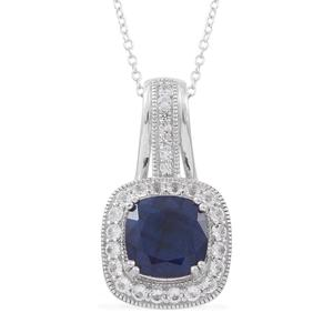Madagascar Blue Sapphire, Ruby, White Topaz Sterling Silver Royal Drop Pendant With Chain (18 in) TGW 7.39 cts.