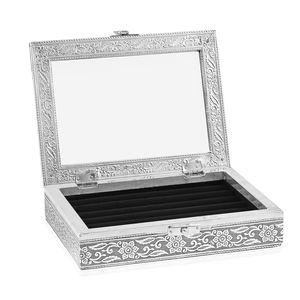 Black Glass in Velvet lining Aluminum Artware MDF Jewellry box (6x8 in)