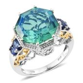 Peacock Quartz, Masoala Sapphire 14K YG and Platinum Over Sterling Silver Ring (Size 9.0) TGW 14.35 cts.