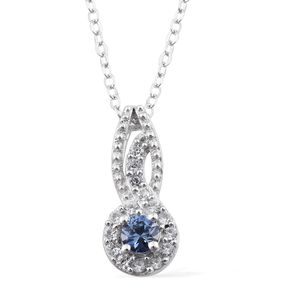 Ceylon Blue Sapphire, Cambodian Zircon Platinum Over Sterling Silver Pendant With Chain (20 in) TGW 0.40 cts.