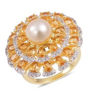 South Sea Golden Pearl (9-10 mm), Brazilian Citrine, White Zircon 14K YG Over Sterling Silver Statement Ring (Size 7.0) TGW 5.00 cts.