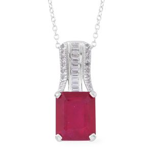 Niassa Ruby, White Topaz Sterling Silver Pendant With Chain (18 in) TGW 8.82 cts.