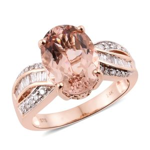 14K RG Marropino Morganite, Diamond Ring (Size 8.0) TDiaWt 0.46 cts, TGW 5.81 cts.