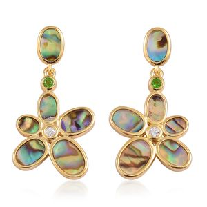 GP Abalone Shell, Multi Gemstone 14K YG Over Sterling Silver Earrings TGW 1.65 cts.
