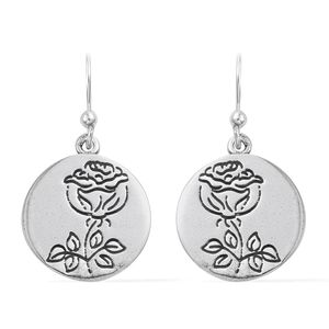 Artisan Crafted Sterling Silver Rose Dangle Earrings (4.1 g)