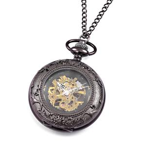GENOA Miyota Japanese Movement Dark Silvertone Mechanical Pocket Watch with Chain (32 in)