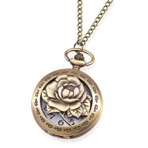 STRADA Japanese Movement Water Resistant Goldtone Peony Pocket Watch With Chain (31 in)