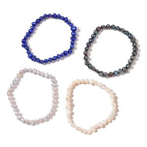 Set of 4 Freshwater Multi Color Pearl Bracelets (Stretchable)