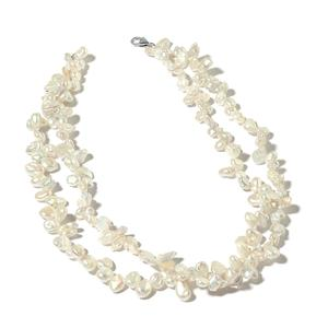 Keshi White Pearl Sterling Silver Double Strand Necklace with Lobster Clasp (18 in)