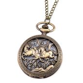 STRADA Japanese Movement Water Resistant Goldtone Horse Pocket Watch With Chain (31 in)