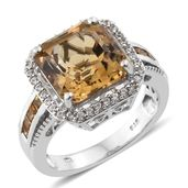 Asscher Cut Brazilian Citrine, Cambodian Zircon Platinum Over Sterling Silver Ring (Size 9.0) TGW 5.78 cts.