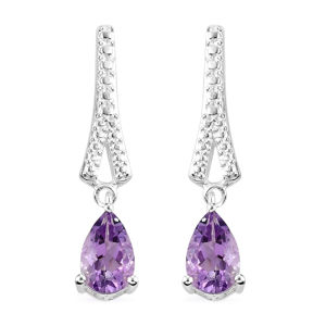 Rose De France Amethyst Sterling Silver Drop Earrings TGW 1.56 cts.