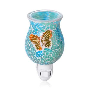 Blue and Green Butterfly Pattern Mosaic Glass Night Light (4.5x1.5 in)