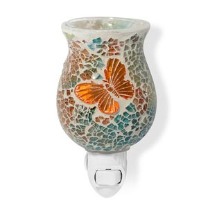 Green, Blue, and Orange Butterfly Pattern Mosaic Glass Night Light (4.5x1.5 in)