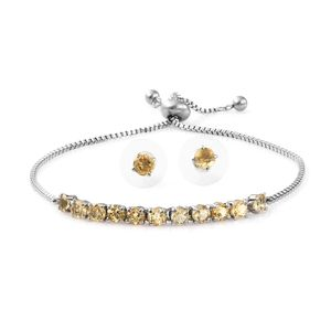 MD Brazilian Citrine Stainless Steel Stud Earrings and Bolo Bracelet (Adjustable) TGW 3.70 cts.