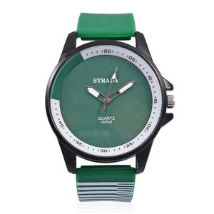 STRADA Japanese Movement Water Resistant Watch with Green Silicone Band and Stainless Steel Back