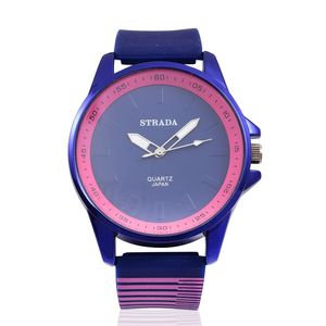 STRADA Japanese Movement Watch with Navy Silicone Band and Stainless Steel Back