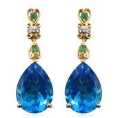 Caribbean Quartz, Kagem Zambian Emerald, Cambodian Zircon Vermeil YG Over Sterling Silver Earrings TGW 23.26 cts.