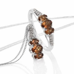 Mocha Scapolite, Cambodian Zircon Platinum Over Sterling Silver Ring (Size 7) and Pendant With Chain (20 in) TGW 1.86 cts.