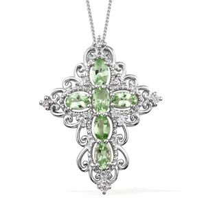 Merelani Mint Garnet, Cambodian Zircon Platinum Over Sterling Silver Cross Pendant With Chain (20 in) TGW 1.56 cts.