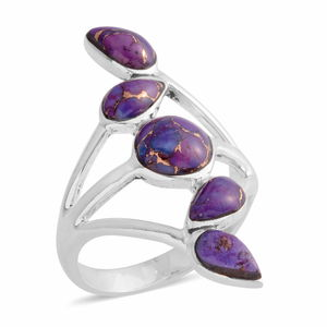 Santa Fe Style Mojave Purple Turquoise Sterling Silver Ring (Size 7.0) TGW 6.86 cts.